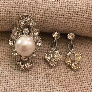 Pearl & Rhinestone Adjustable Ring & Clip Earring